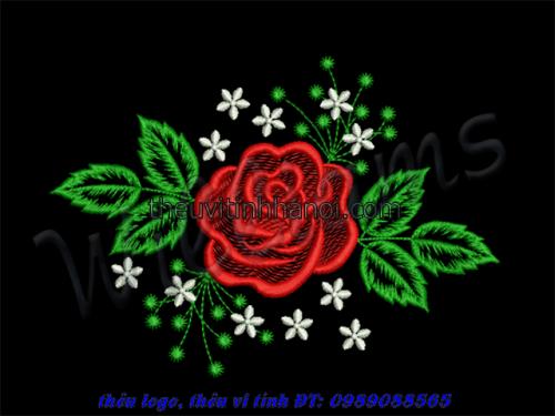 thêu vi tính hoa hồng