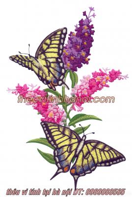 mẫu thêu hoa con bướm bay lượn