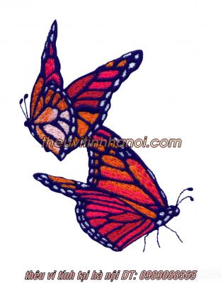 mẫu thêu 2 con bướm lên áo phông áo so mi