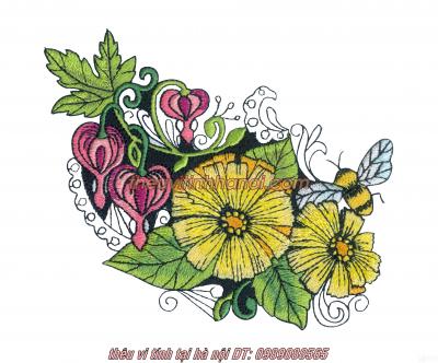 thêu hoa lên áo sơ mi