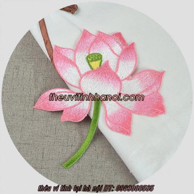 mẫu thêu bông hoa sen